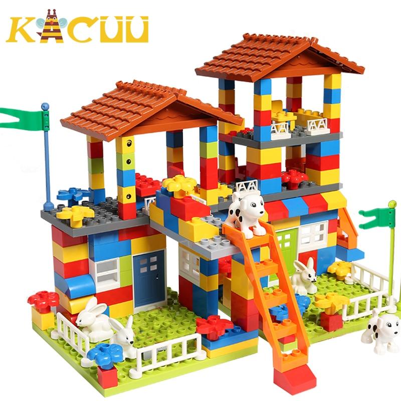 Big Particle Roof Blocks  City House Big Size  Assembly Slide Building Blocks Castle Brick Toys For Children недорого