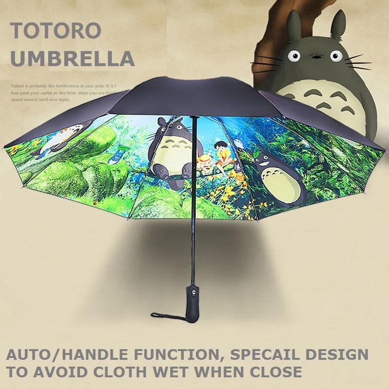 Oussiro-sombrilla Ghibli Totoro para mujer, sombrilla para lluvia y sol, sombrilla Plegable para Guarda, Chuva, TotoroParapluie