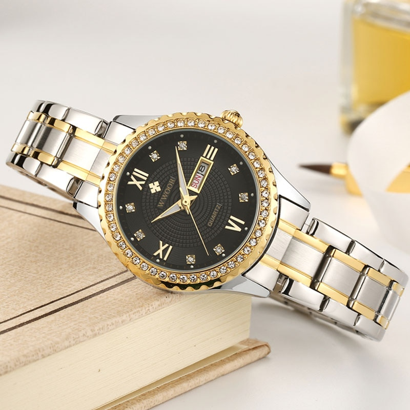 Gold Stainless Steel Women Watch WWOOR Top Brand Casual Diamond Quartz Watches Waterproof Luminous Date Clock Ladies Wrist Watch enlarge