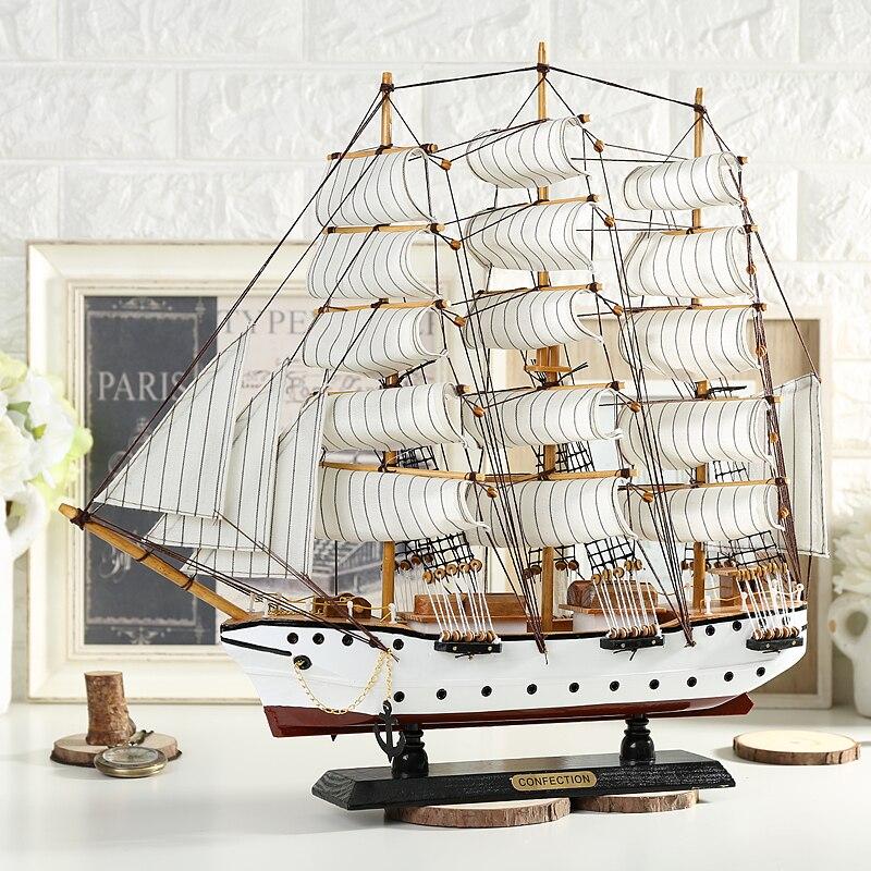 Средиземноморская Парусная модель деревянное украшение деревянная ручная симуляция корабль подарок гладкая Парусная деревянная лодка мо...