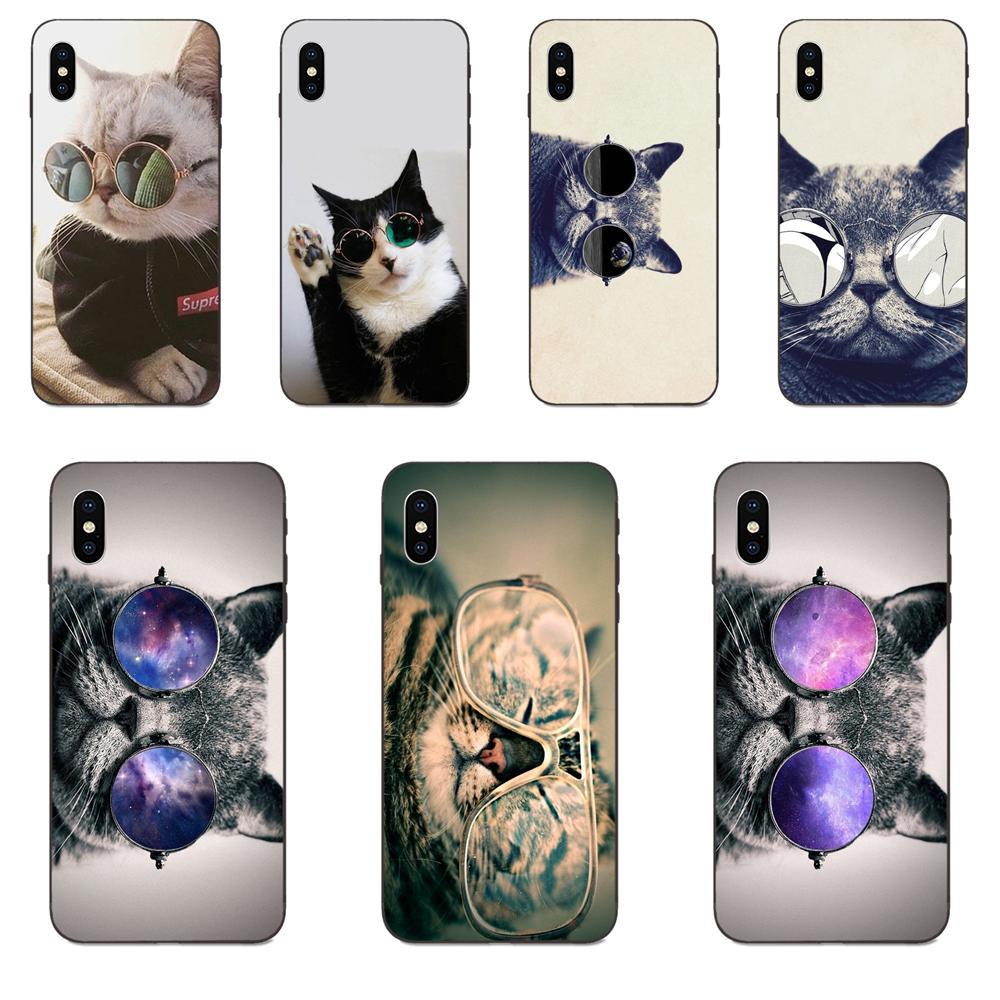 Gato con gafas TPU bolsas de accesorios para Apple iPhone 4 4S 5 5S SE 6 6S 7 8 11 Plus X XS X Max XR Pro Max