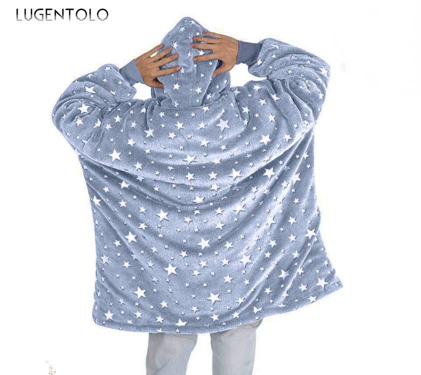 سترة نسائية مخملية بغطاء للرأس وبطانيات كسولة شتوية فضفاضة وأكمام طويلة وكنزة للرأس سترة معطف مطبوع ماركة Lugentolo