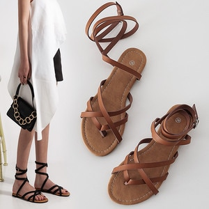 Fashion Gladiator Women Strappy Sandals Flat Casual Summer Shoes 2020 Beach Roman Sandles Open Toe Shoes Woman Brown Black
