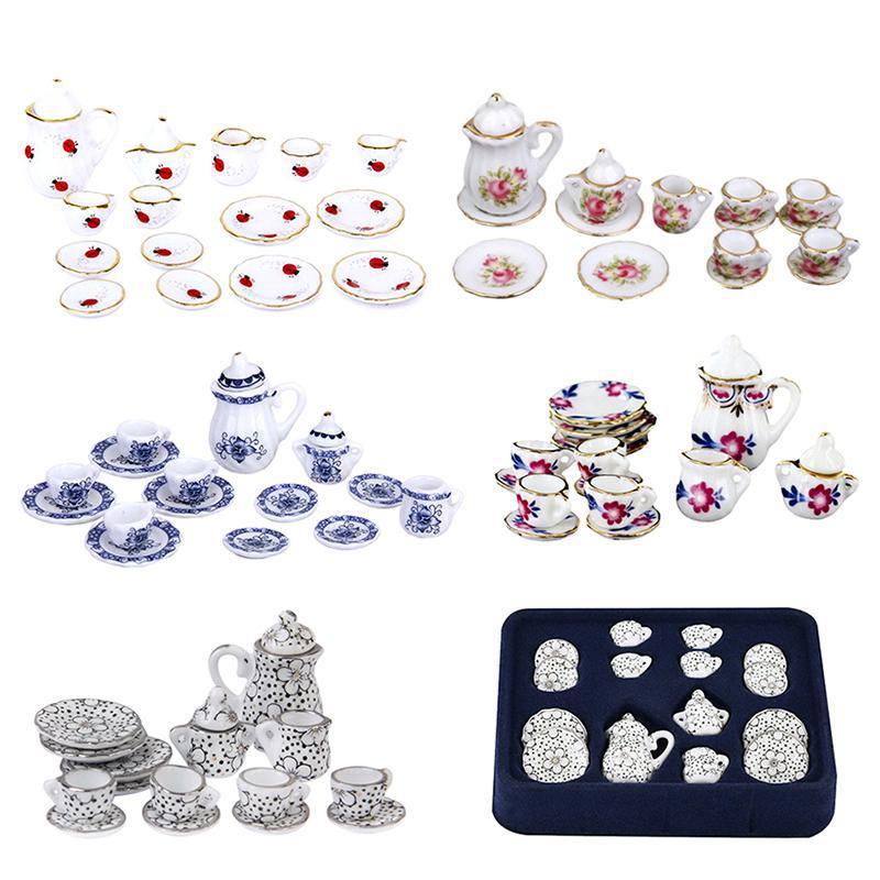 15 Uds. 112 juego de tazas de porcelana Chintz estampado Floral restaurante vajilla cocina casa de muñecas muebles Accesorios