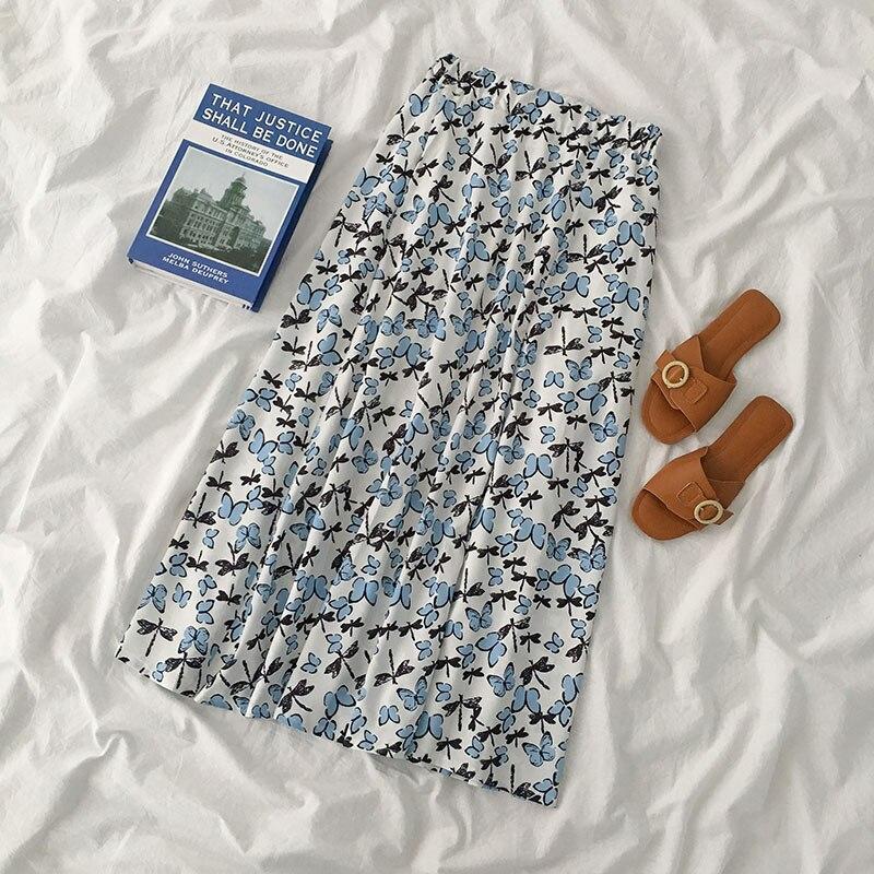 Falda de estilo japonés, verano 2020, Falda Midi de cintura alta con estampado de mariposa para mujer