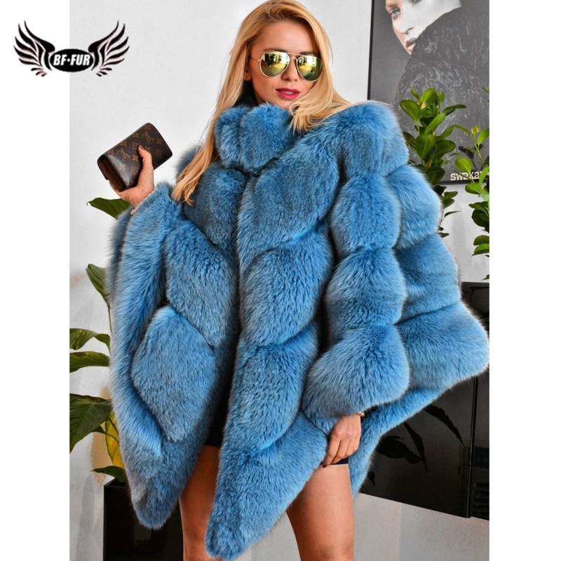 дождевик red fox poncho plus цвет серый 13985 размер универсальный 2021 Fashion Blue Real Fox Fur Cape For Women Winter Wholeskin Genuine Fox Fur Capes And Poncho Stand Collar Outwear Plus Size