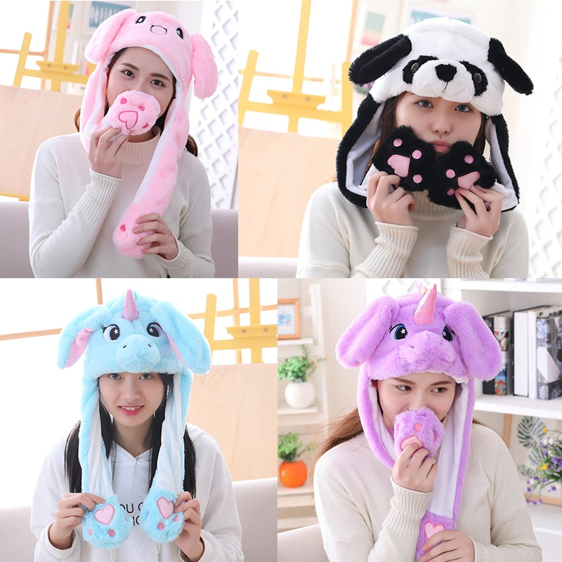 2020 Girl Plush Moving Rabbit Ears Hat Cartoon Stich Funny Cap Kids Party Unicorn Airbag Anime Hats Women Move Jumping Ear Hats