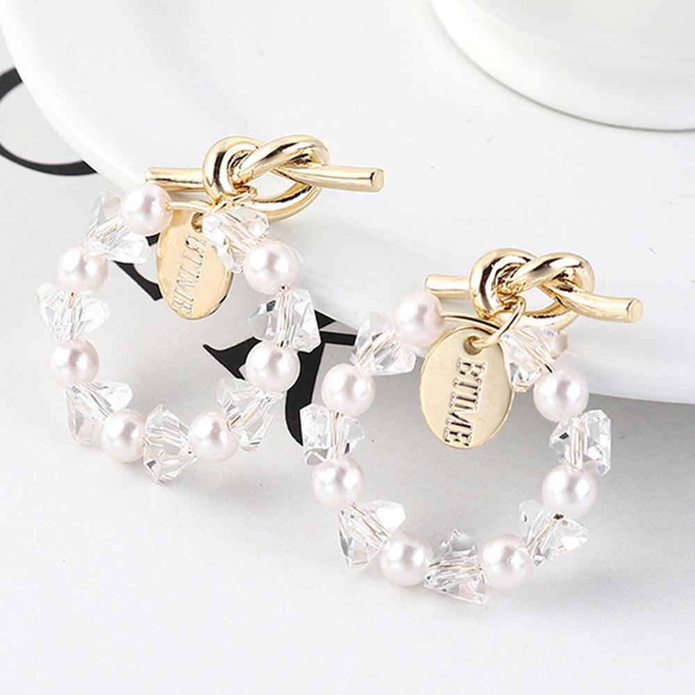 2020 Pendientes para Mujer De Moda Kolczyki Pendientes De personalidad anudados anillo imitación perla Aretes De Mujer