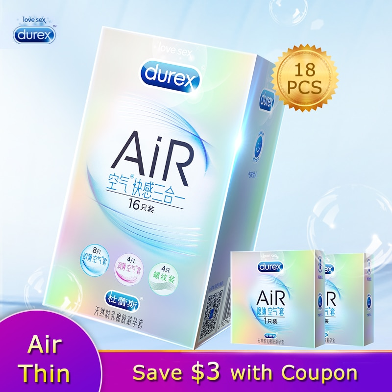 Durex AiR 3in1 Invisible Ultra Thin Condom Natural Latex Rubber Penis Sleeve Adult Products For Men Sexual Toys Intimacy Goods