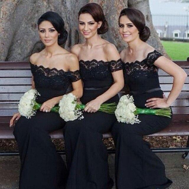 free shipping black long lace Elegant mermaid bridesmaid dresses 2015 new Sexy strapless short sleeves custom made charming