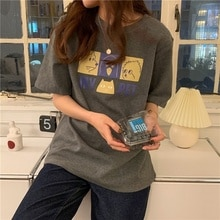 Hong Kong Style Japanese Short-Sleeved T-shirt Female 2021 Loose Tshirt T Tee Shirt Femme Women Hara