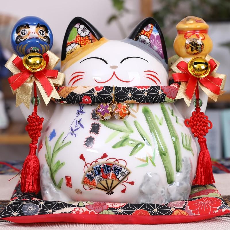 8,2 zoll Keramik Maneki Neko Münze Bank Glückliche Katze Daruma Geld Box für Reichtum Feng Shui Home Dekorative Ornament