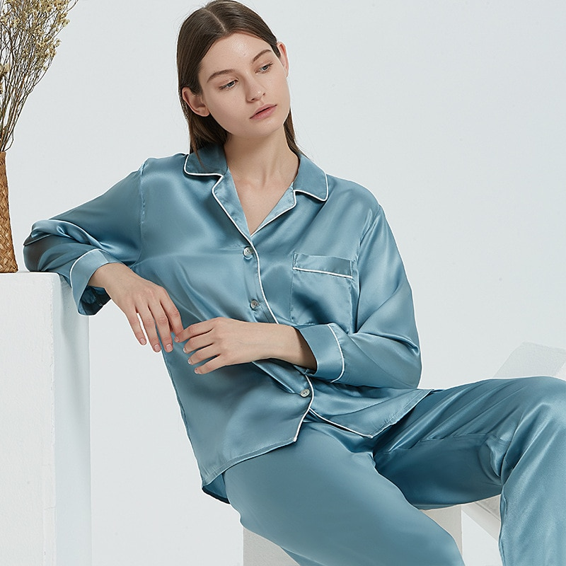16 Momme التوت الحرير منامة 100% الحرير الفاخرة طويل كم بنطلون أنثى ريال الحرير Homewear الصيف ملابس خاصة النساء بيما
