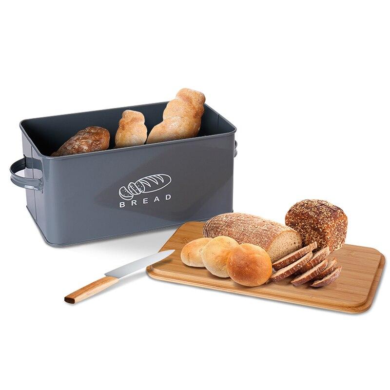 صندوق الخبز تخزين صندوق تخزين الخبز علبة مع لوح تقطيع من خشب الخيزران المطبخ حاوية معدنية الغذاء