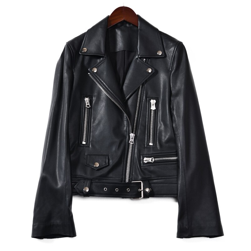 Real Natural Leather Jacket Women Sheepskin Leather Coats and Jackets Belt Zippers Women High Qualit