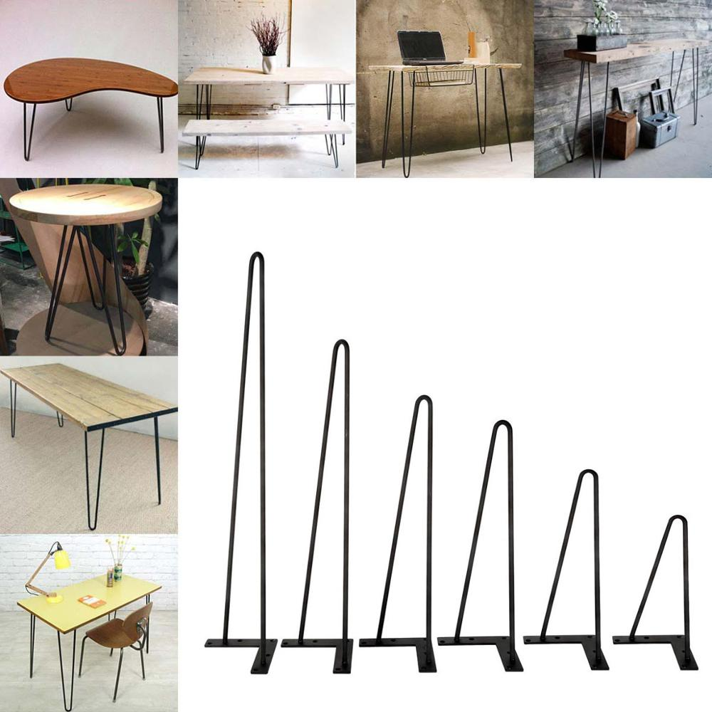 "8 ""-30"" mesa de café metal hairpin pernas barra de ferro sólido preto conjunto de 4"