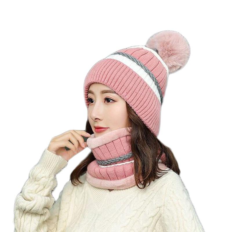 Высококачественная популярная шапка для девочек, лыжные помпоны, шапка с меховым помпоном трикотажные шапки без полей шапки, шарф, набор дл...