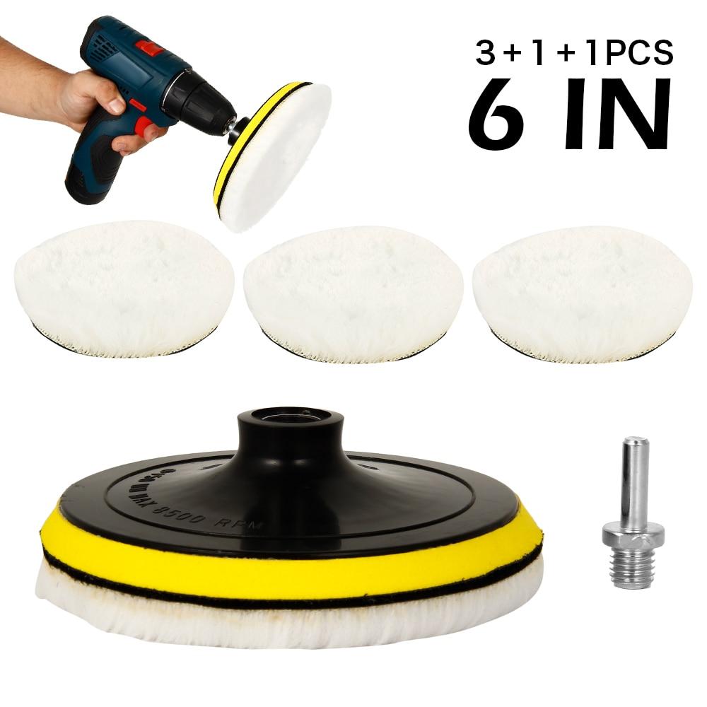 5pcs 6inch Wool Pads Waxing Polishing Buffing Pad Wheel Car Auto Car Paint Care Polisher Pads M14