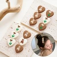 fashion kids hair accessories heart girls hair clips sweet tulip flower cartoon bear baby hairpins cloth barrettes ornament