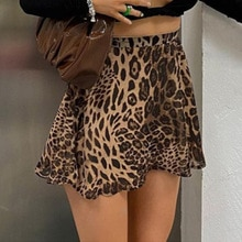 Women's 2021 summer temperament high waist Brown Leopard Print A-line skirt skirt y2k skirt  punk sk
