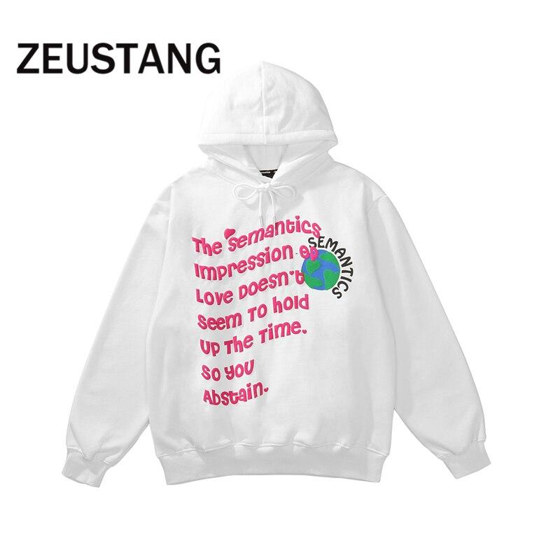 Свитшот Zeustang с капюшоном, флисовые толстовки с надписью в стиле Харадзюку, уличная одежда в стиле хип-хоп, мужской модный Повседневный Свобо...