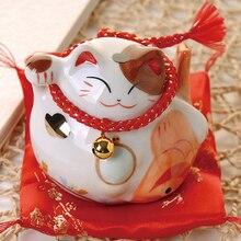 Décoration de maison en céramique chat chanceux noir/blanc   4 pouces, cadeau daffaires en chat porte-bonheur, tirelire Feng Shui, décoration artistique