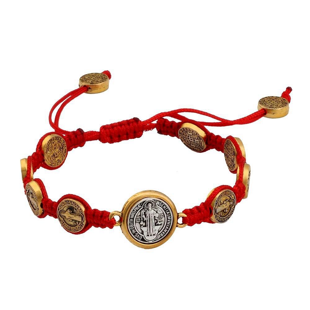 NIC 10Pcs  Tone Saint Benedict Medal on Adjustable Cord Wrist Bracelet ( 5 - style ) B-32