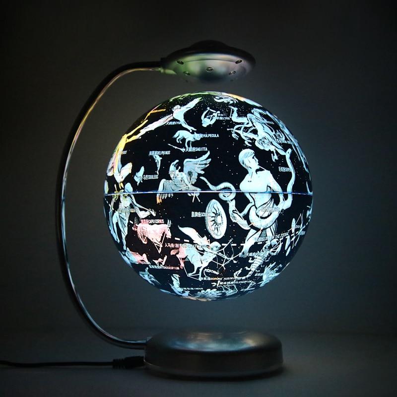 8inch Constellation Levitating Globe Home Decoration Gift Suspended Rotating Led Light Earth Magnetic Levitation Floating Globe