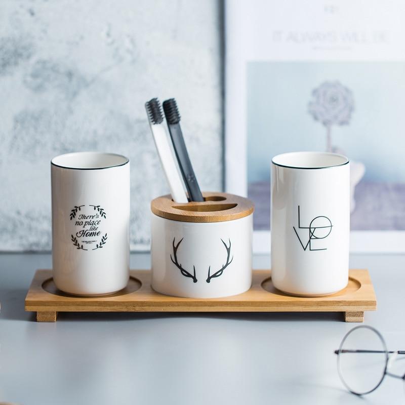 Soporte de cerámica multifunción para cepillos de dientes taza para boca con bandeja de madera estuche de bolígrafo accesorios de decoración para almacenamiento de baño taza de agua