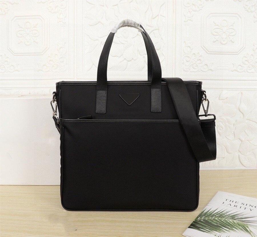 Black nylon briefcase men's briefcase waterproof handbag large capacity computer bag fashion office business