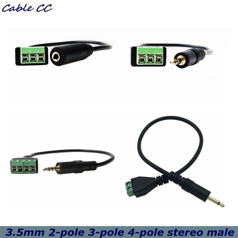 3.5mm 2-pole 3-pole 4-pole stereo male to AV screw video balun terminal 3.5 audio jack 3-pin male terminal block plug connector