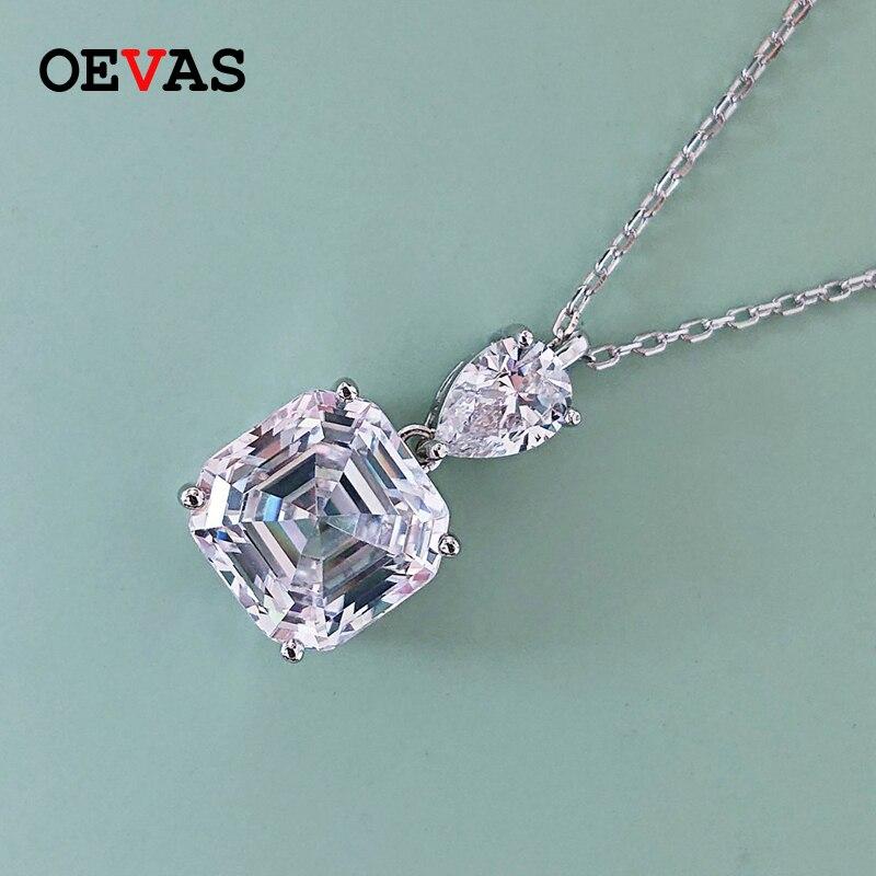 OEVAS-قلادة زفاف من الفضة الإسترليني عيار 100% والزركون ، قلادة ، سلسلة ، زركونيا ، زركونيت ، 10 مللي متر ، زفاف ، زفاف ، أسلوب أنيق ، هدية ، 925