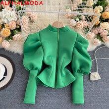ALPHALMODA New Stylish Puff Sleeve Zipper Cardigans Women Trendy Bubble Sleeve Slim Fit Fashion Soli