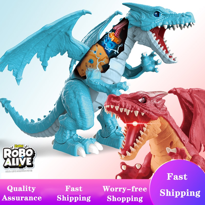 20in Zuru Robo Alive Robotic Pets Ice Blasting Dragon Collectible Toys For Children Electronic Dino Game Boy Christmas Gift