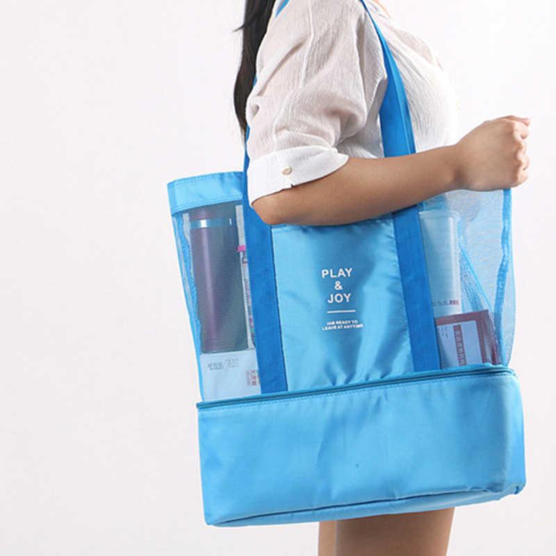 High Capacity Women Mesh Transparent Bag Double Layer Heat Preservation Large Picnic Beach Bags Women Bag Shoulder 2019 Summer Top Handle Bags Aliexpress