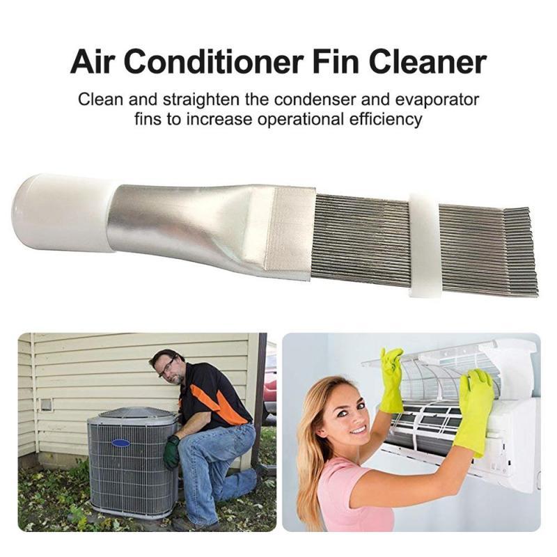 1 pc condensador pente de aço inoxidável fin pente escova para ar condicionado lâmina resfriamento alisamento ferramenta limpeza ferramentas reparo