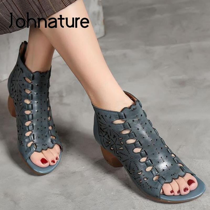 Johnature Retro High Heels Sandalen Frauen Schuhe Aus Echtem Leder 2020 Neue Sommer Zip Lässige Nähen Handgemachte Concise Damen Sandalen