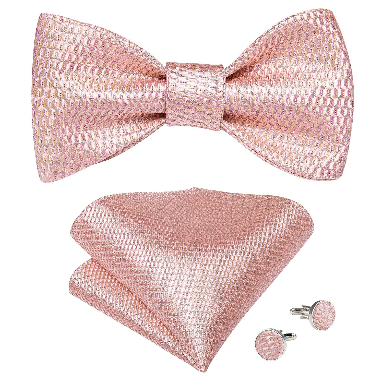 New Fashion Men Wedding Pink Solid Silk Woven Self Tie Bow Tie Handkerchief Cufflinks Set Party Bowknot Gift For Men DiBanGu