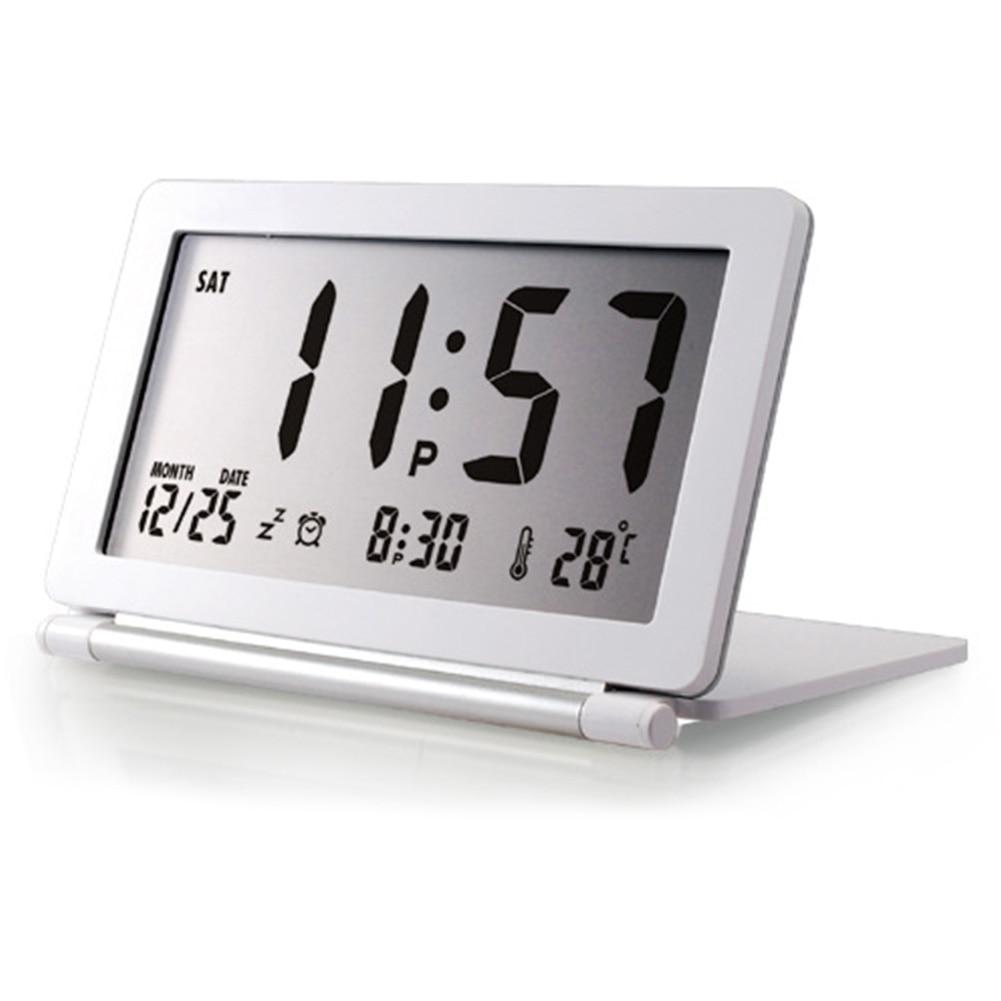 Calendario despertador de viaje Digital LCD Display Desk Silent Flip temperatura electrónica plegable Mini Home Office
