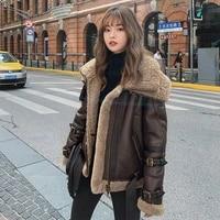 female natural real fur coat winter wool liner sheepskin coats clothes 2020 korean streetwear 100 shearling genuine jacket 6081
