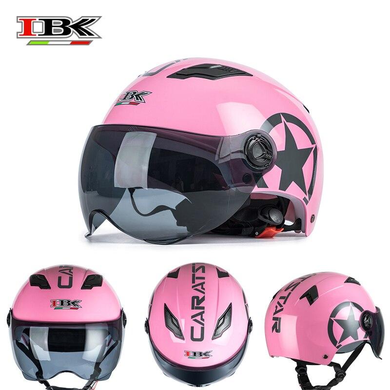 IBK-Casco para moto eléctrica de color rosa, de cara abierta con visera para mujer, Casco de seguridad IBK-035