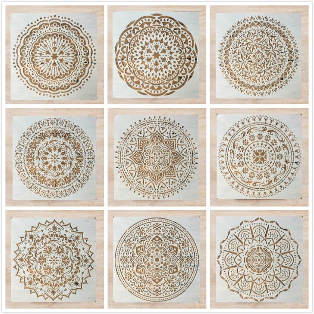 9 unids/lote 6*6 pulgadas Mandala círculo redondo DIY capas plantilla para pintura libro de recortes colorear en relieve álbum plantilla decorativa