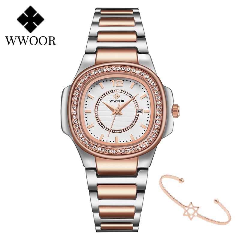 Ladies Watches 2020 New WWOOR Rose Gold Watch Women Top Brand Luxury Crystal Women Quartz Dress Wrist Watch Female montre femme enlarge