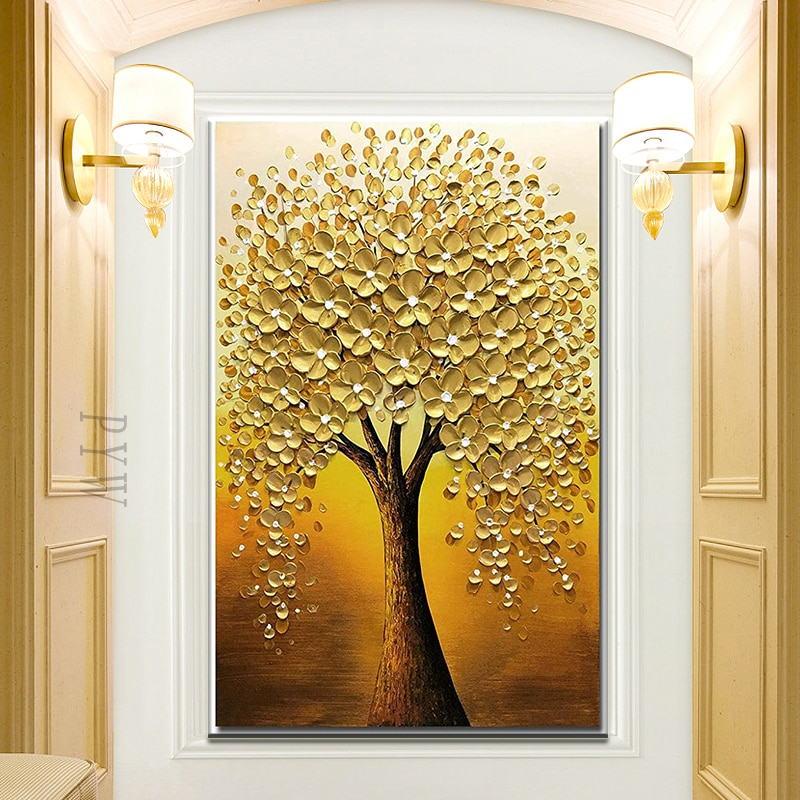 Hand Painted 3D Knife Gold Tree Painting  Modern Abstract Paintings Oil Painting On Canvas Home Decoration Luxury For Home Decor