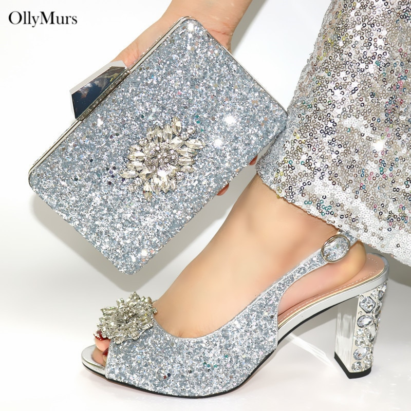 New Italy Style Woman High Heels Shoes And Bag To Match Set 2020 Fashion Summer Silver Pumps Shoes A