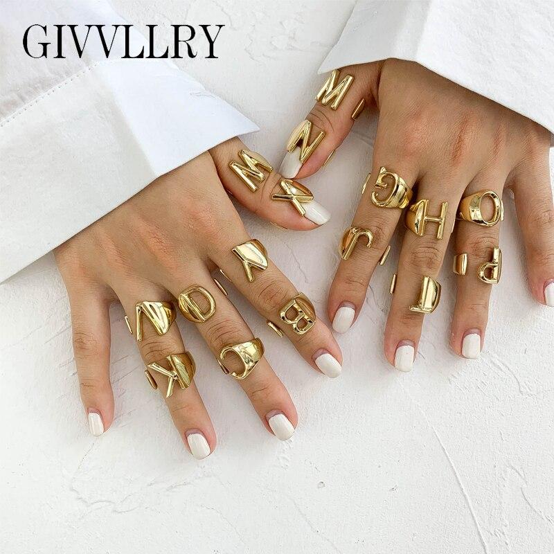 Anillo de apertura de letra A Z Metal dorado nombre inicial alfabeto femenino anillos ajustables mujeres regalo de joyas de fiesta personalizado