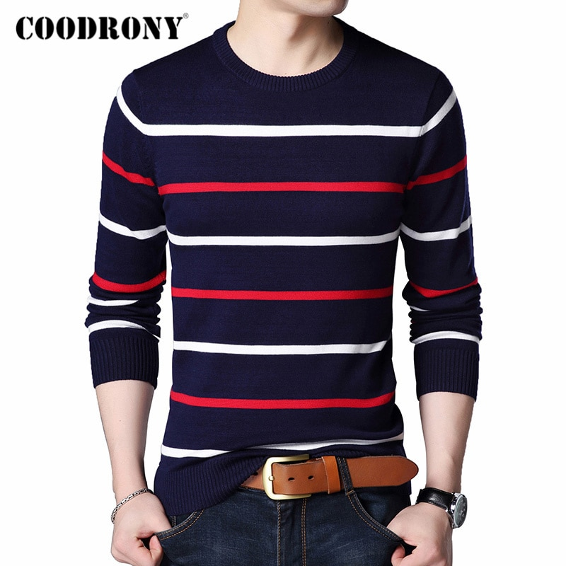 Coodrony marca camisola masculina moda listrado o-pescoço puxar homme outono inverno malhas pulôver roupas masculinas camisa hombre topo c1003
