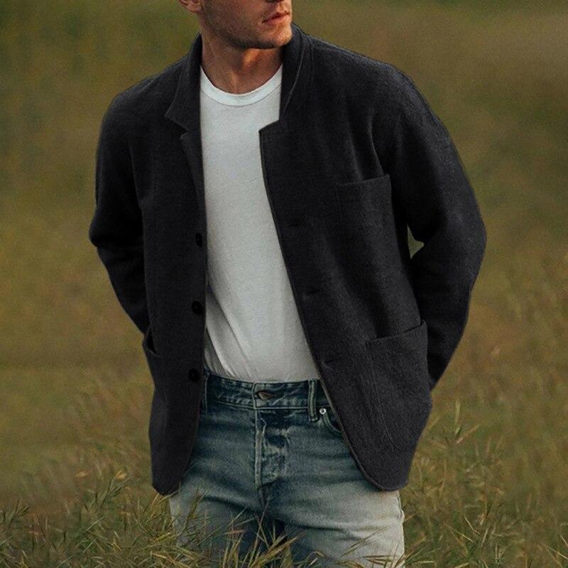 Мужская однотонная осенняя куртка, новый стиль 2021, мужская повседневная однобортная куртка, модная одежда, жилет, мужская одежда