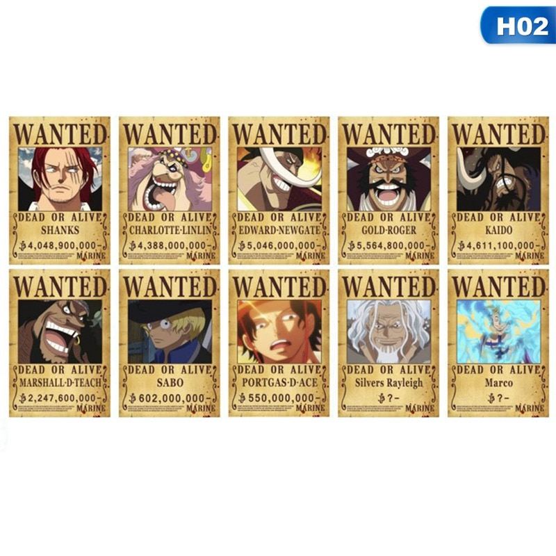 10 Pcs/ Set Home Decor Wall Stickers Vintage Paper Japan Anime One Piece Wanted Posters Anime Posters Luffy Chopper Wanted