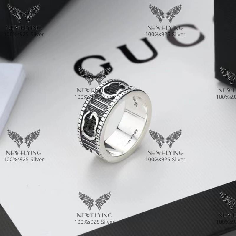 Newfflies جودة عالية الكلاسيكية الرجال والنساء عشاق حلقة 100% 925 فضة هدية للذكرى السنوية الرجعية الأصلي خاتم الحب حلية